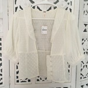 Free people sheer ivory blouse